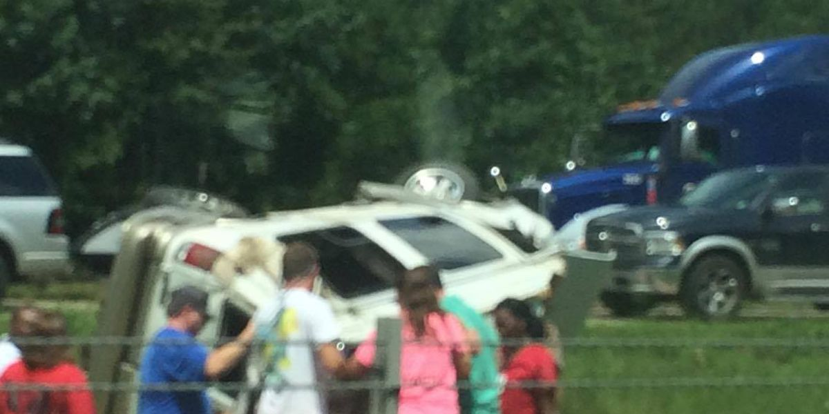 Two injured in one vehicle accident on I-59