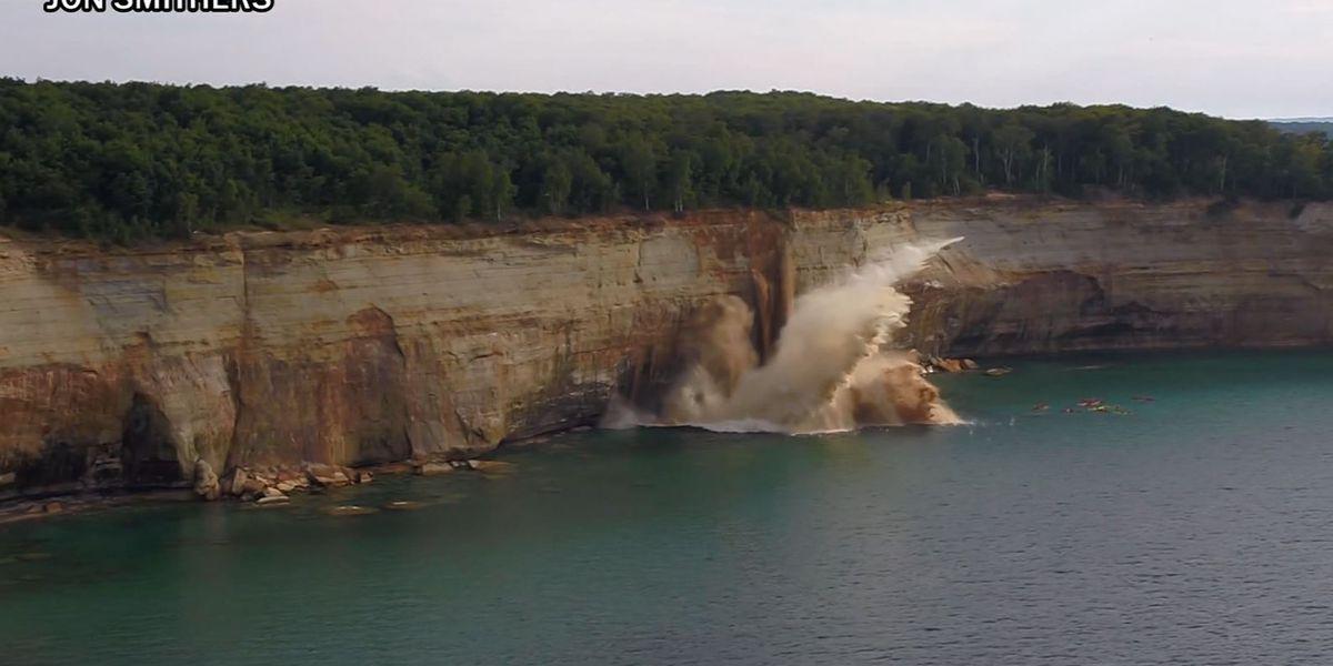 Massive cliff falls very close to kayak tour in Michigan