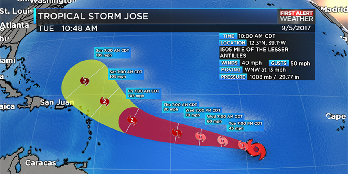 Tropical Storm Jose forms in the eastern Atlantic