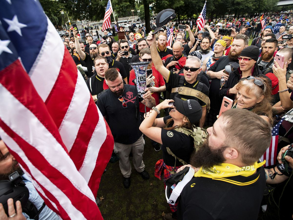 Dozens in body armor arrive in Portland for right-wing rally