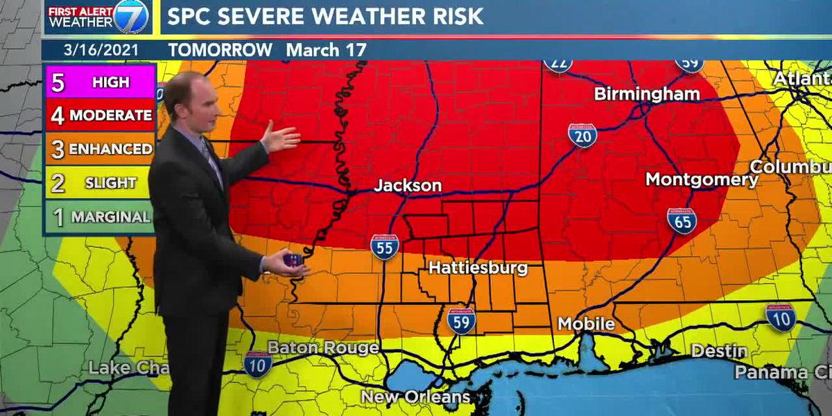 Chance for severe storms on Wednesday