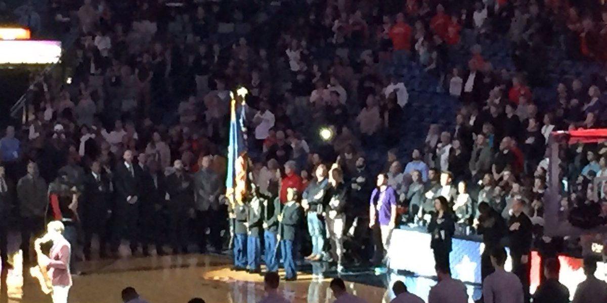 Hattiesburg High JROTC posts colors at NBA game