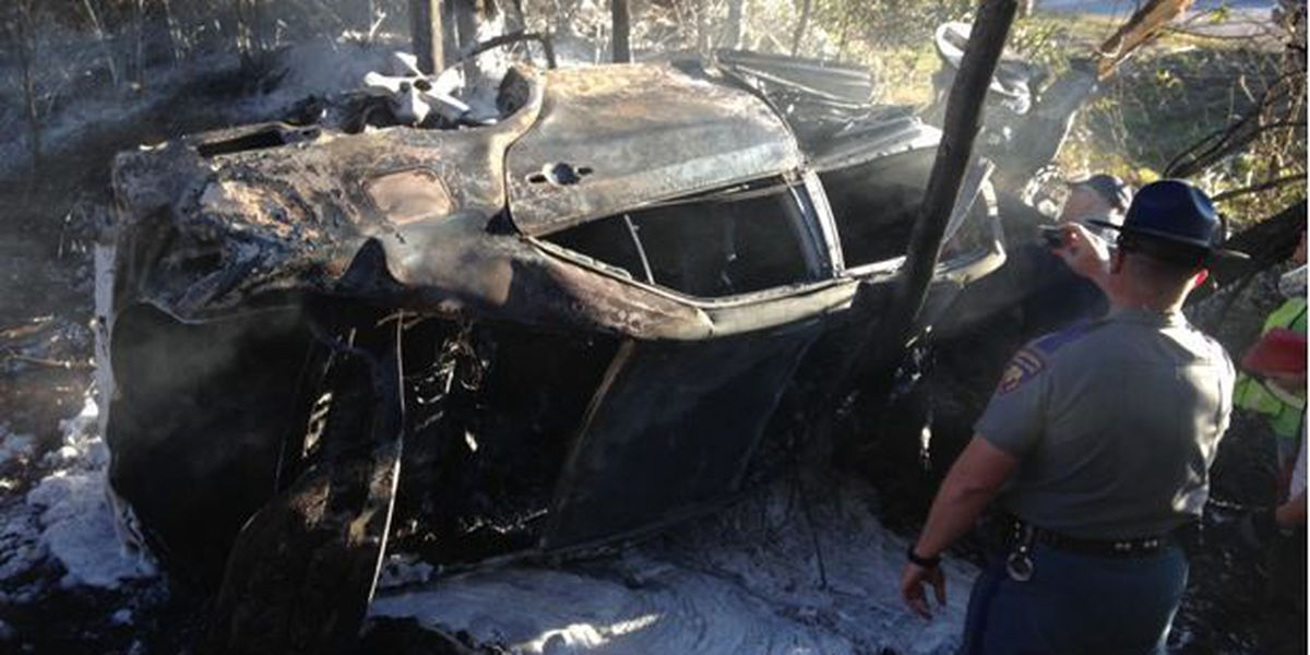 Vehicle catches fire after rollover accident on interstate