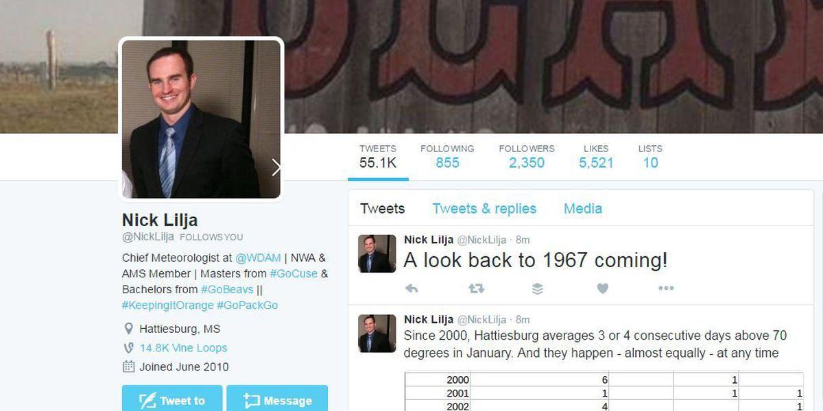 WDAM Chief Meteorologist named in top 100 Meteorology Twitter account list
