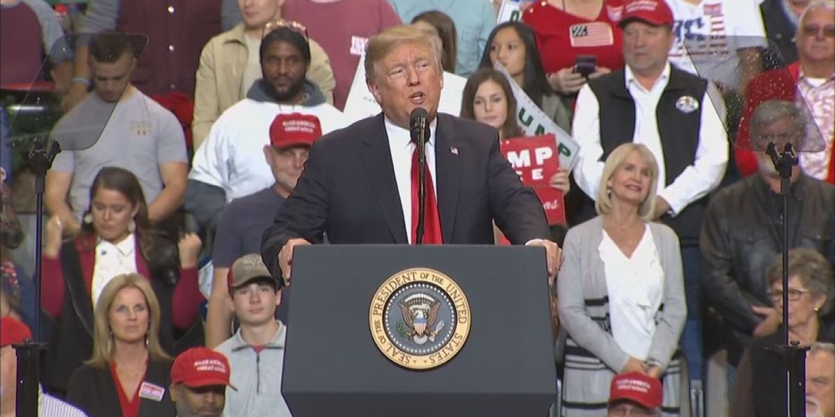 President Trump, Cindy Hyde-Smith take the stage at Biloxi campaign rally