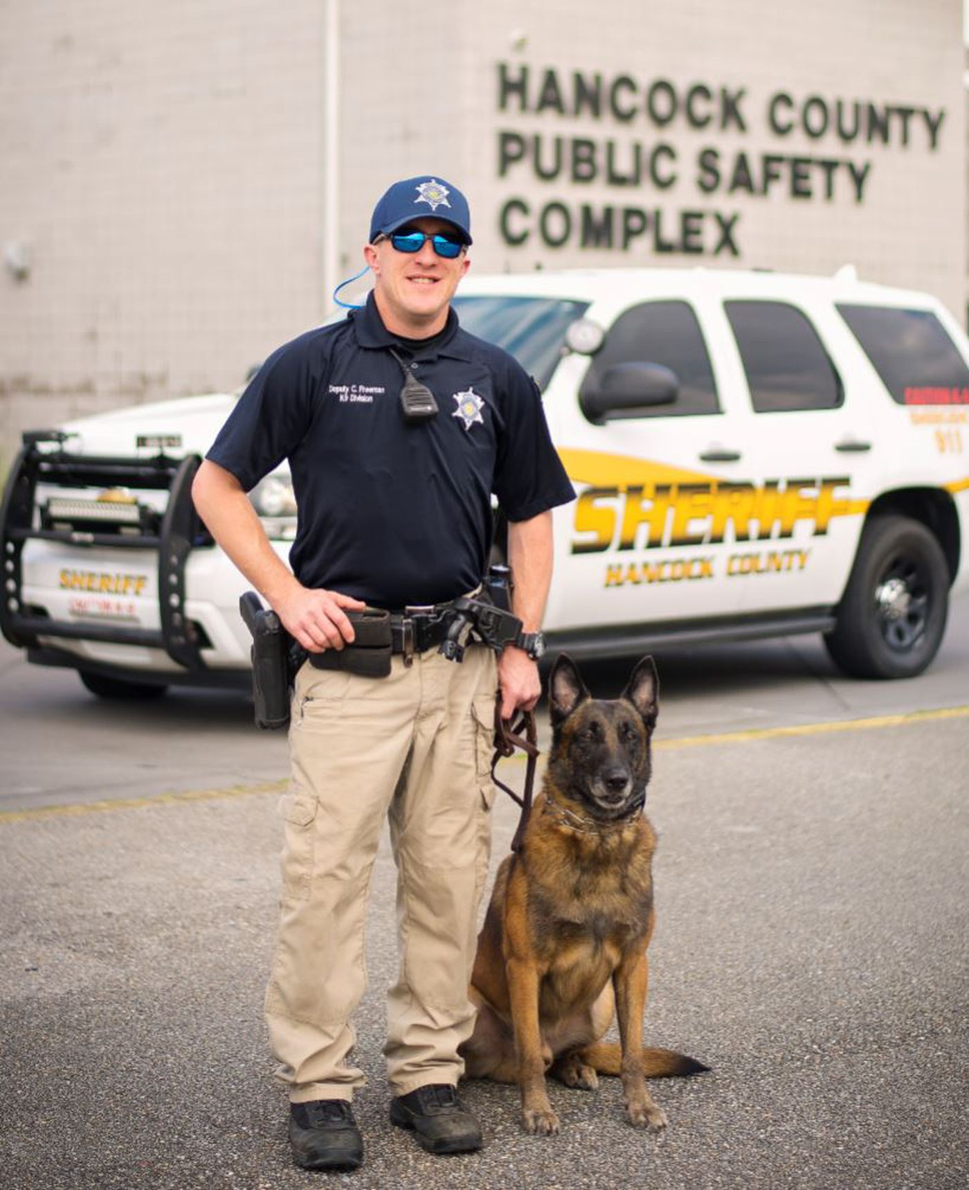 Canine deputy stabbed in abdomen while pursuing suspect in Hancock