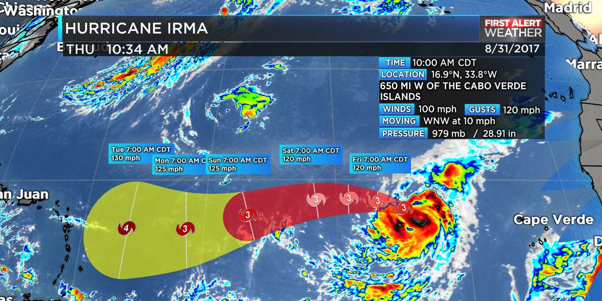 Irma intensifies to category two hurricane in Eastern Atlantic near Africa