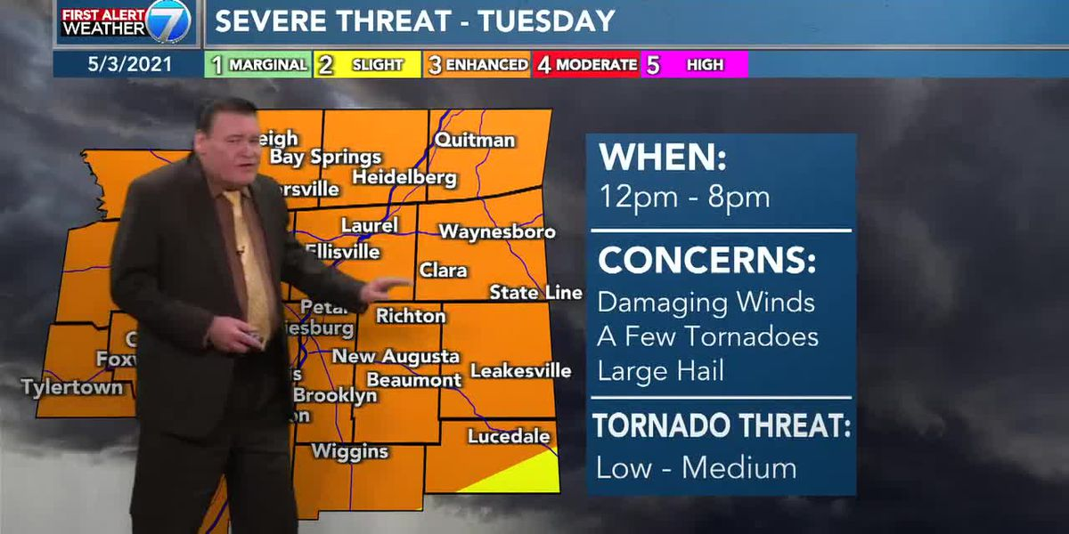 First Alert Weather Day: Pine Belt under 'enhanced' risk for severe weather Tuesday
