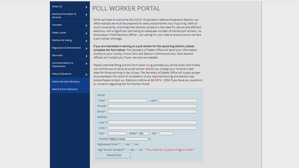 Secretary of State speaks on finding poll workers for elections