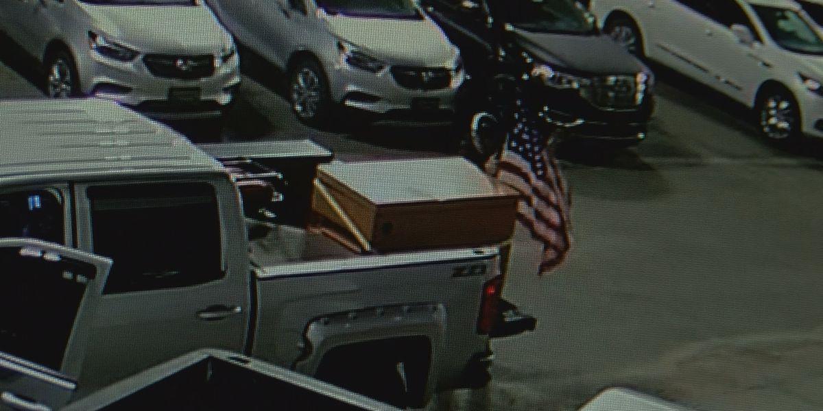 WATCH: Patriotic burglar breaks into trucks before falling asleep inside parked car at dealership