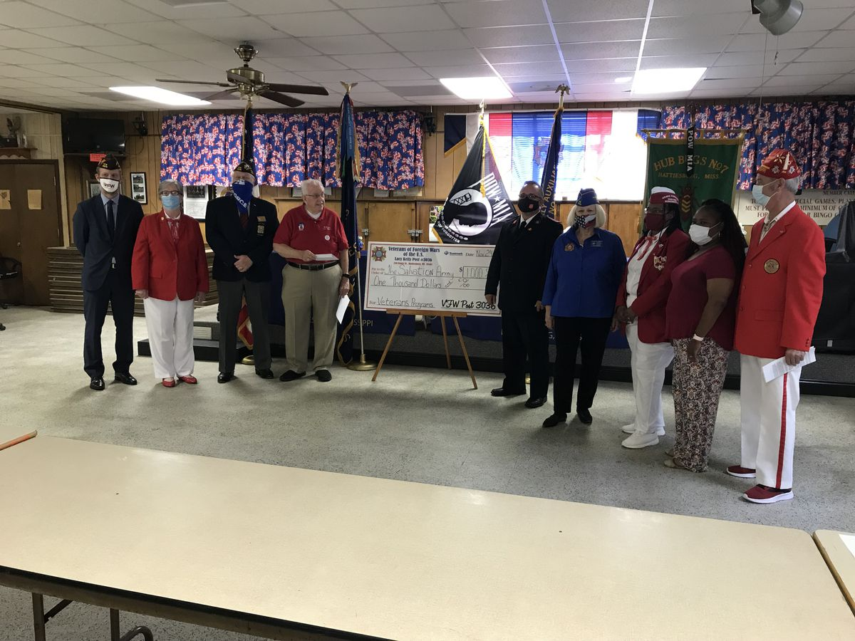 VFW makes $1,000 donation to Hattiesburg Salvation Army