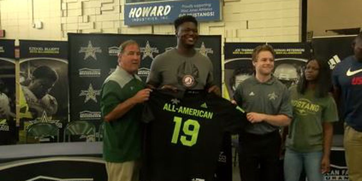 West Jones lineman Byron Young receives All-American jersey