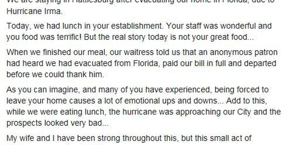 Act of kindness at MS restaurant brings evacuees to tears