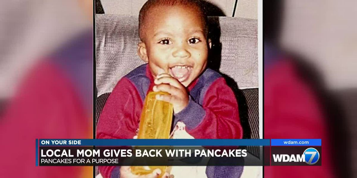 Mom holds Pancakes for a Purpose in honor of late son