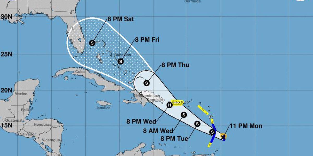 Tropical Storm Dorian continues west, threatens the Caribbean islands