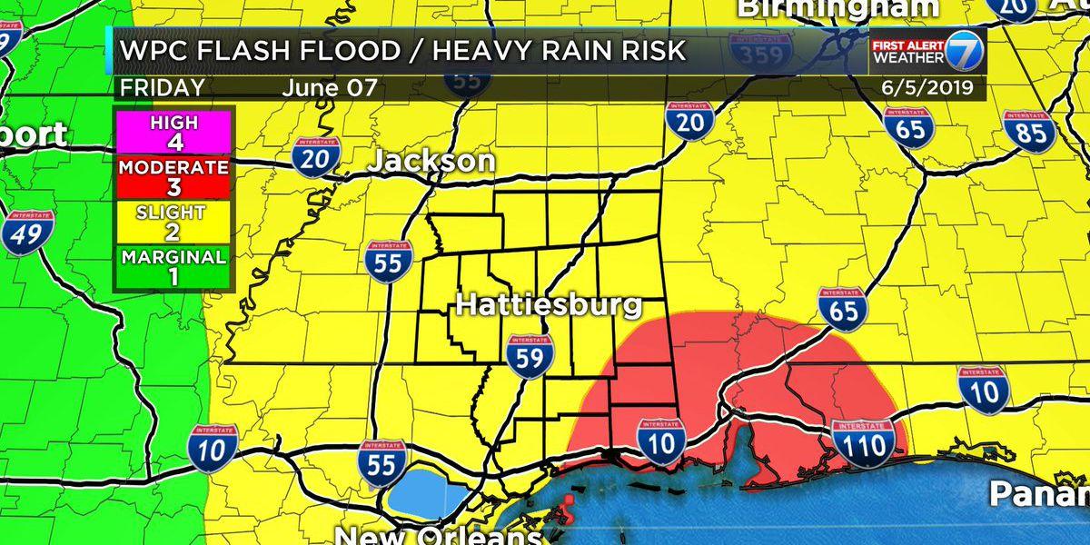 First Alert: Heavy rain, possible flooding, for Pine Belt