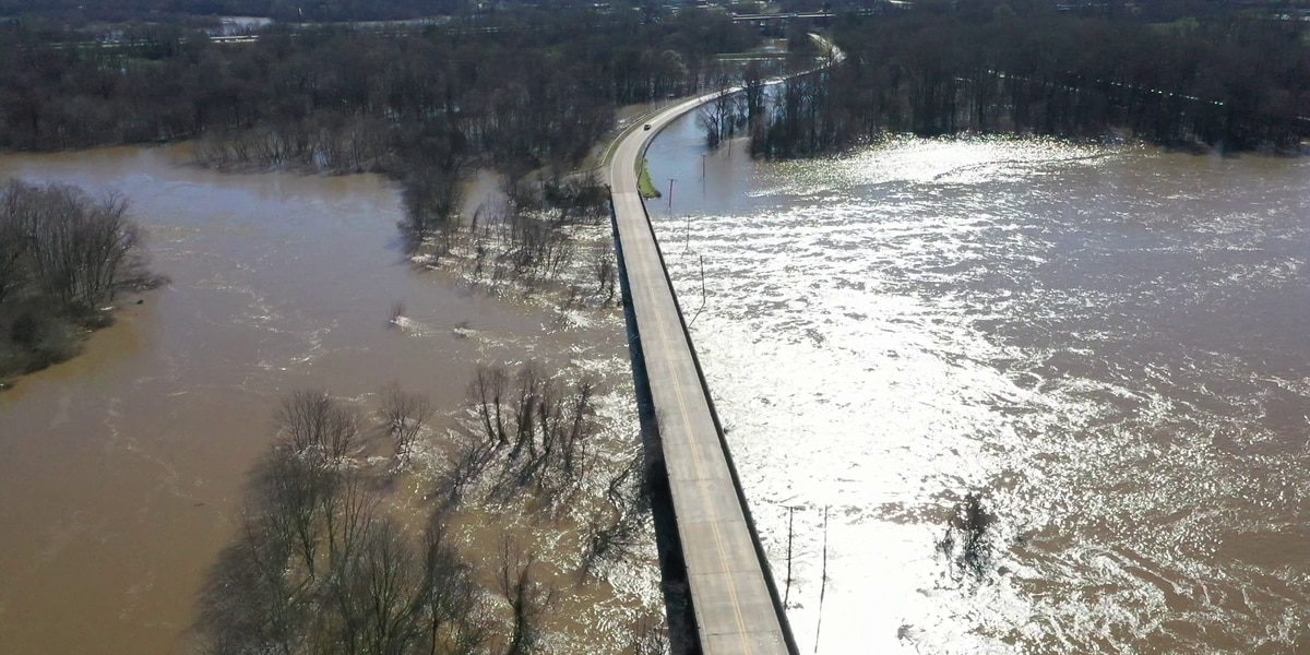 WATCH: Drone video shows bloated Pearl River