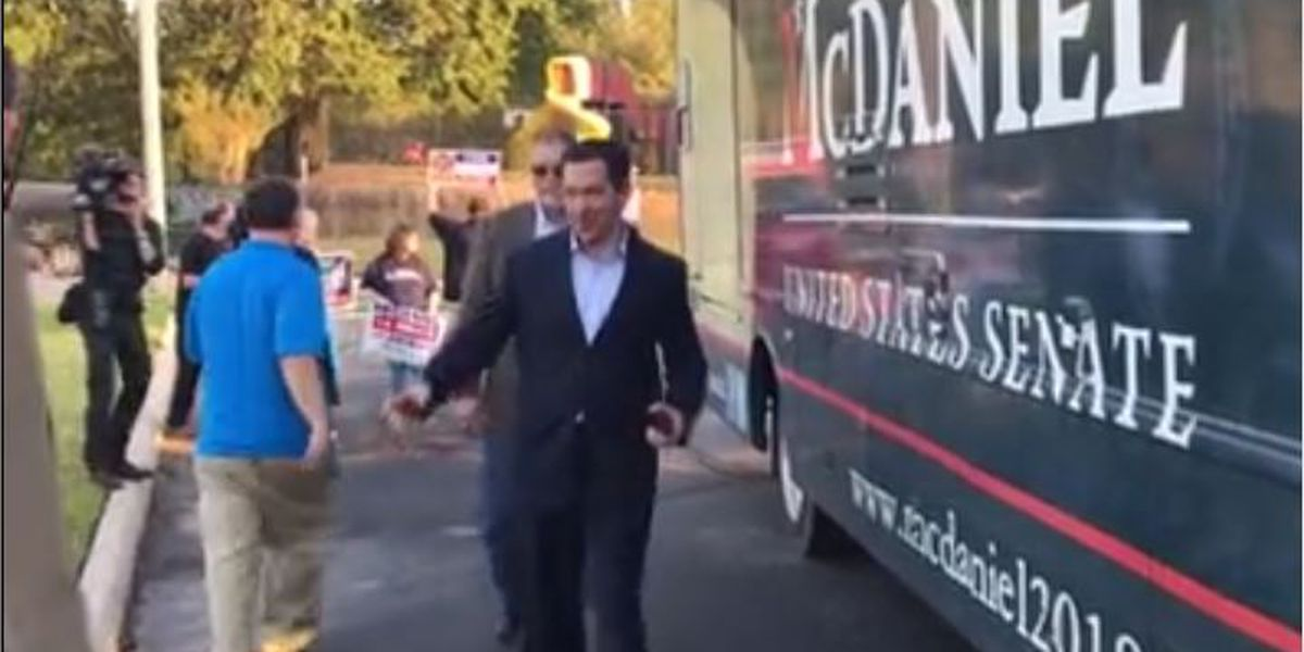U.S. Senate candidate Chris McDaniel casts vote in Jones Co.