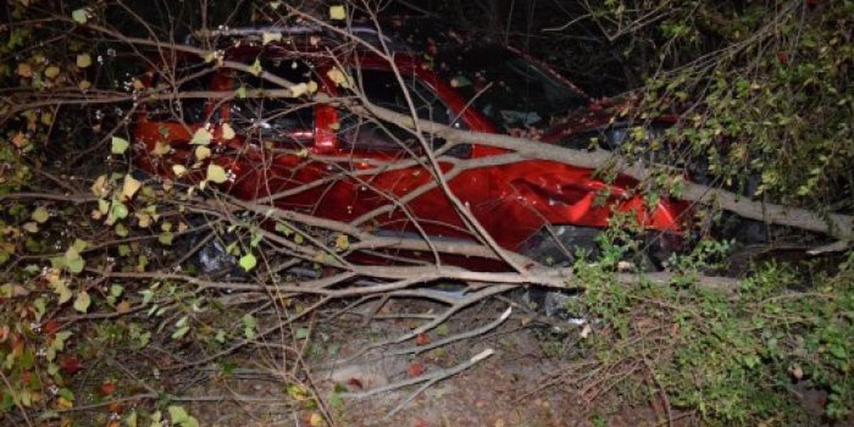 Vehicle found several yards from roadway after wreck