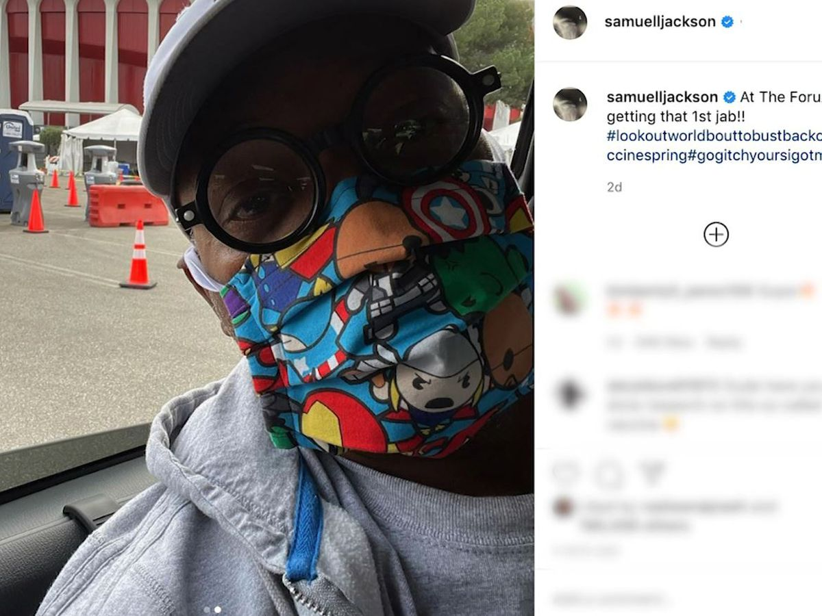 Samuel L. Jackson wears Avengers-themed mask while getting COVID-19 vaccine