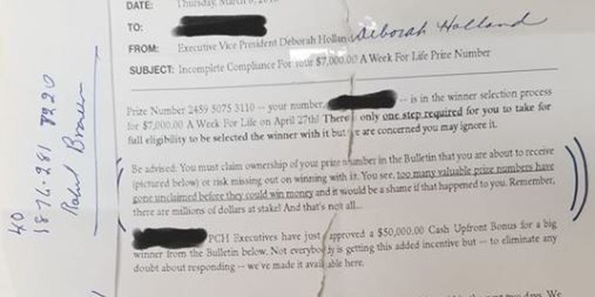 Publishers Clearing House scam reported in Ellisville