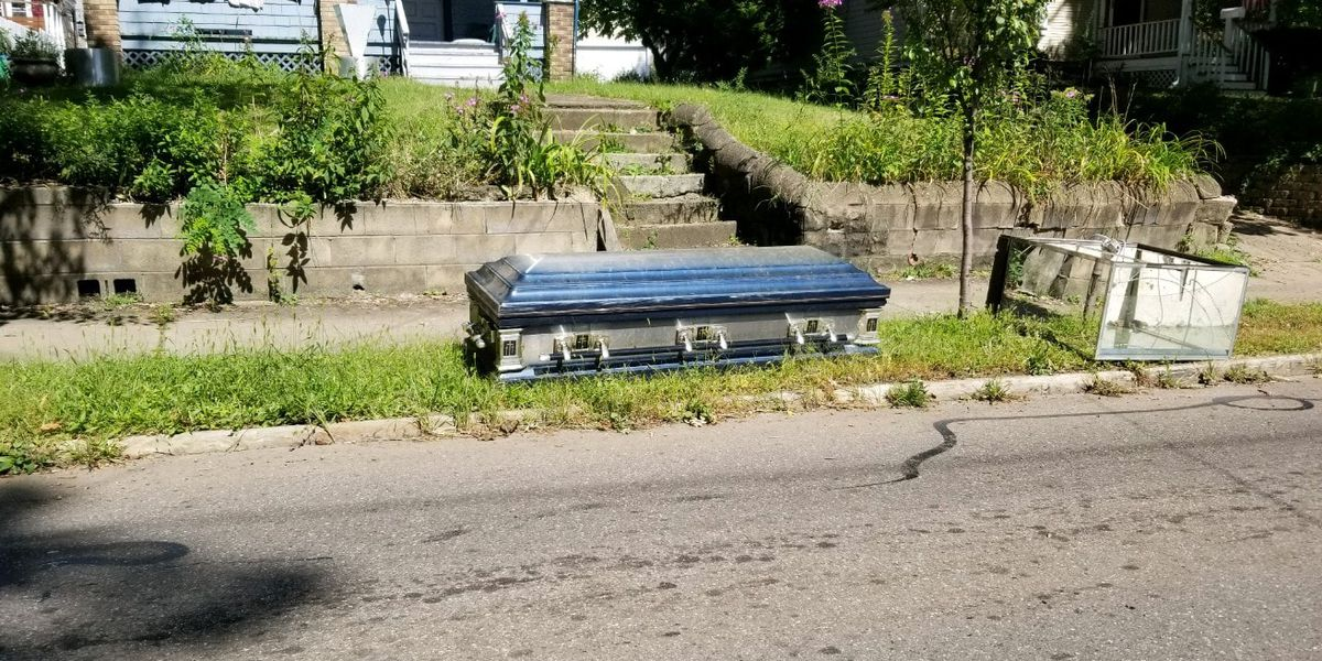 Someone actually threw out a casket with the garbage in Akron and we know the story behind who picked it up