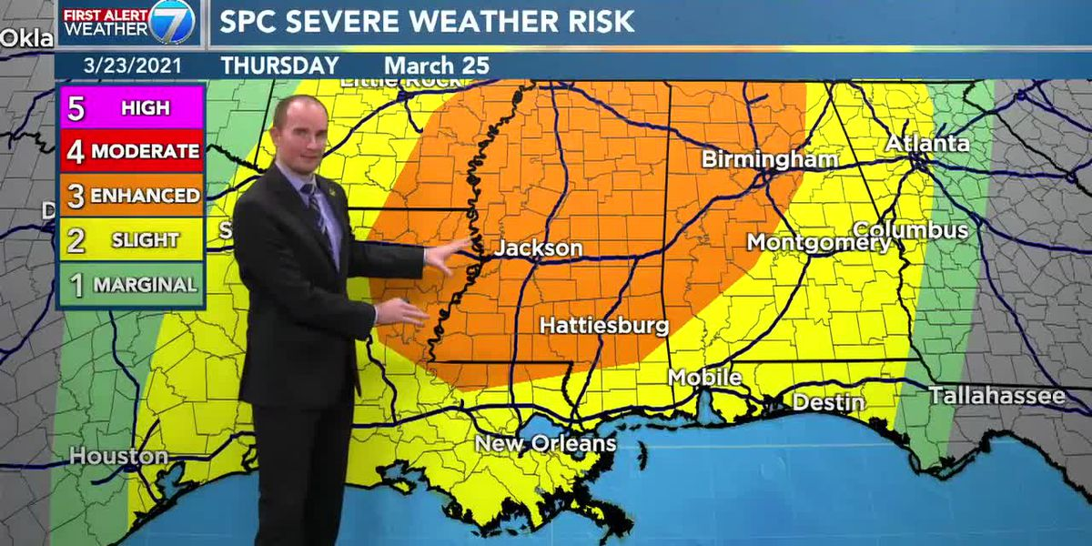 Storms continue through midweek with a possibility for severe weather Thursday