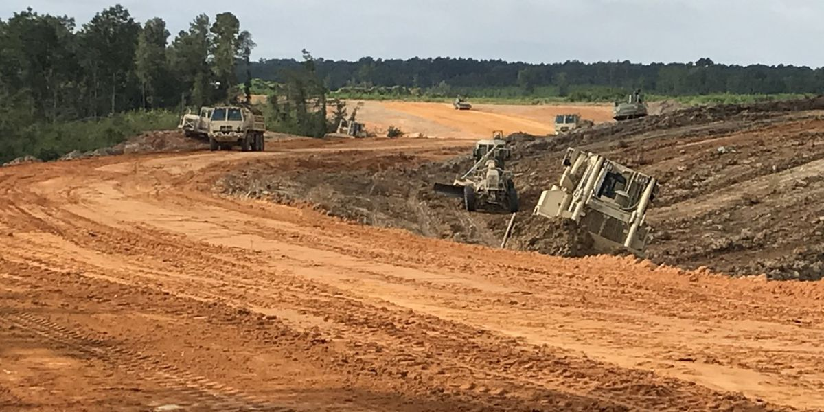 National Guard engineers extending airport road