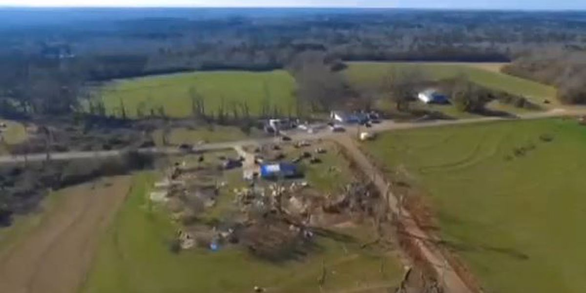 RAW VIDEO: Drone video of tornado damage