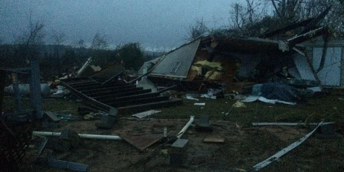 Eastern MS homes destroyed by tornado