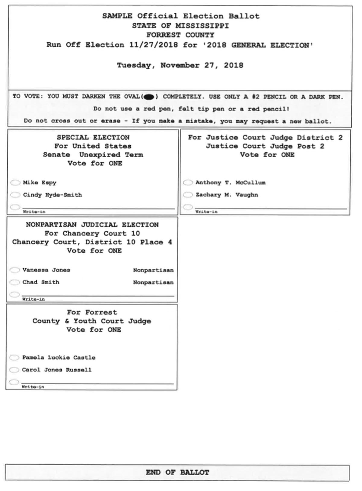Sample ballots for runoff