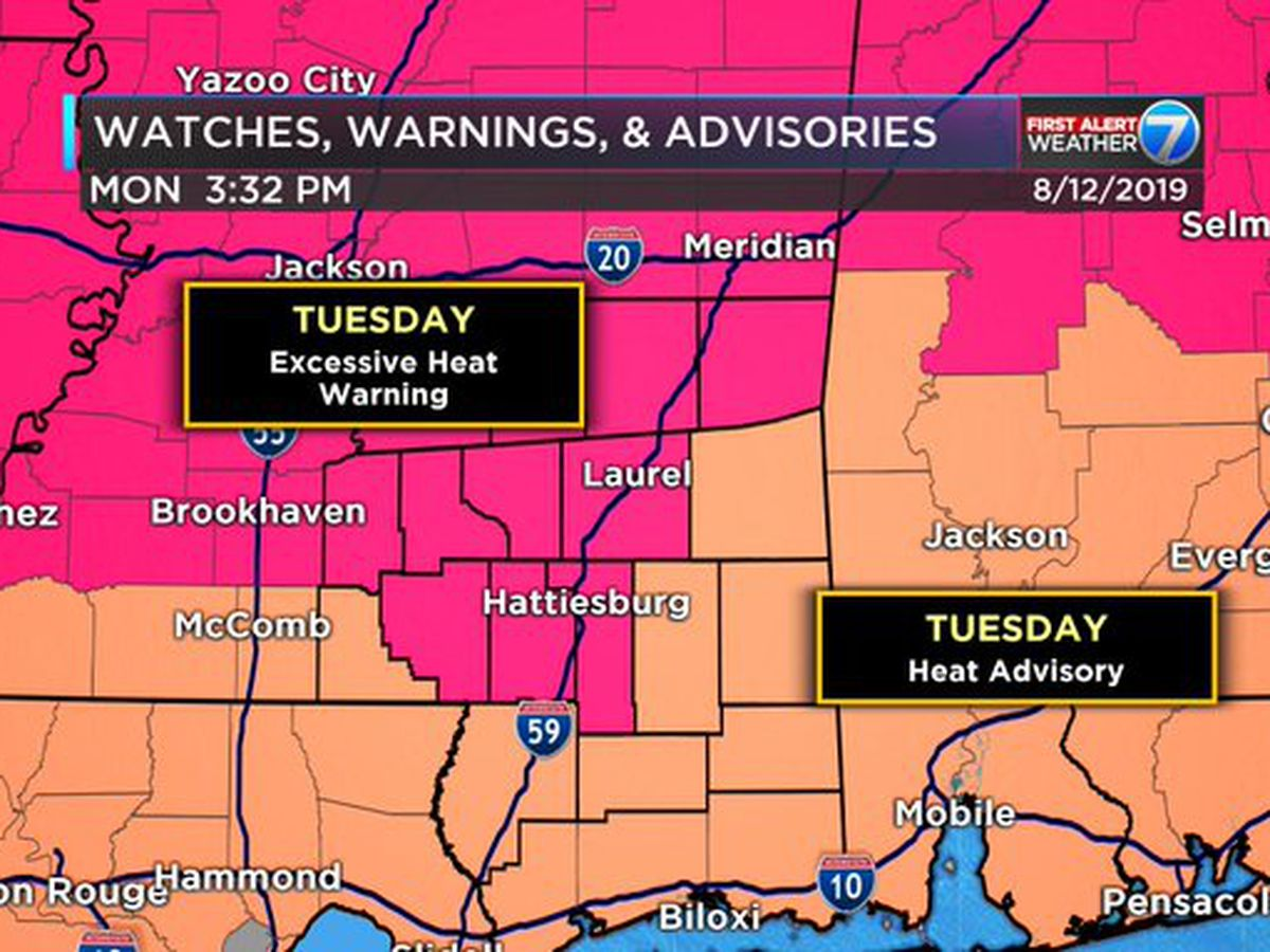 First Alert Weather Day: Excessive heat likely Tuesday for parts of the Pine Belt