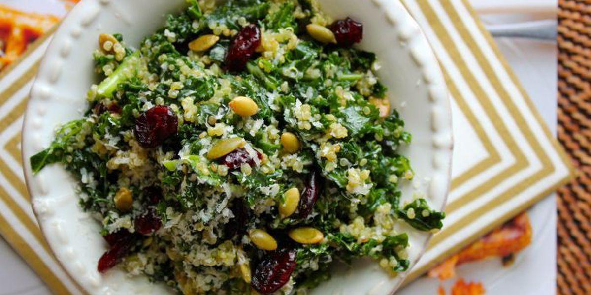 Raw kale & quinoa salad