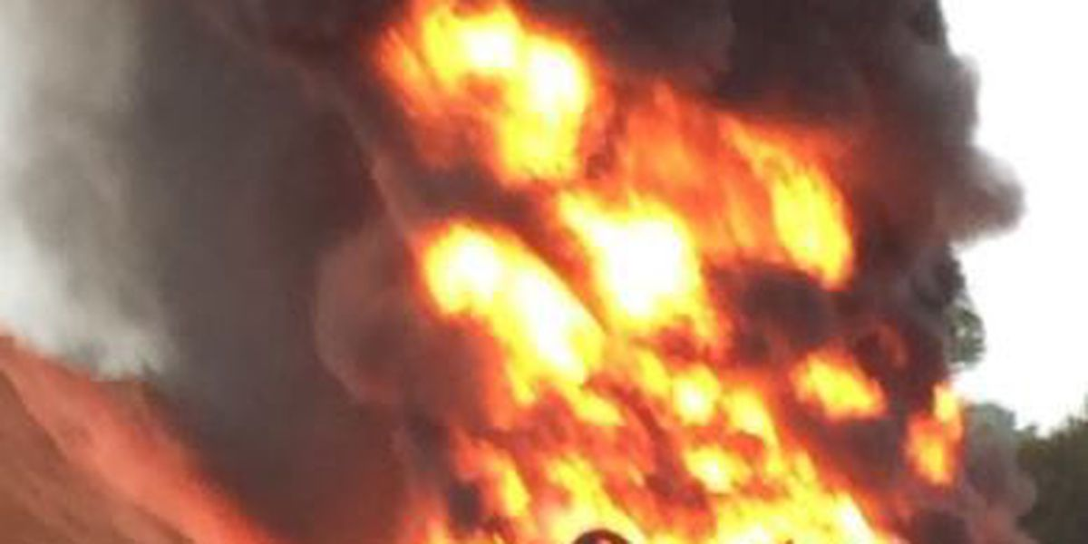 Forrest Co. firefighters battling blaze at tire disposal business