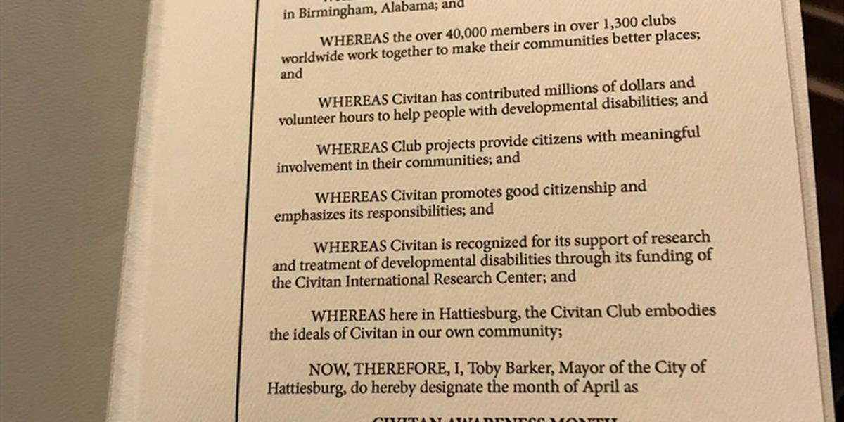 Hattiesburg mayor recognizes area Civitan clubs
