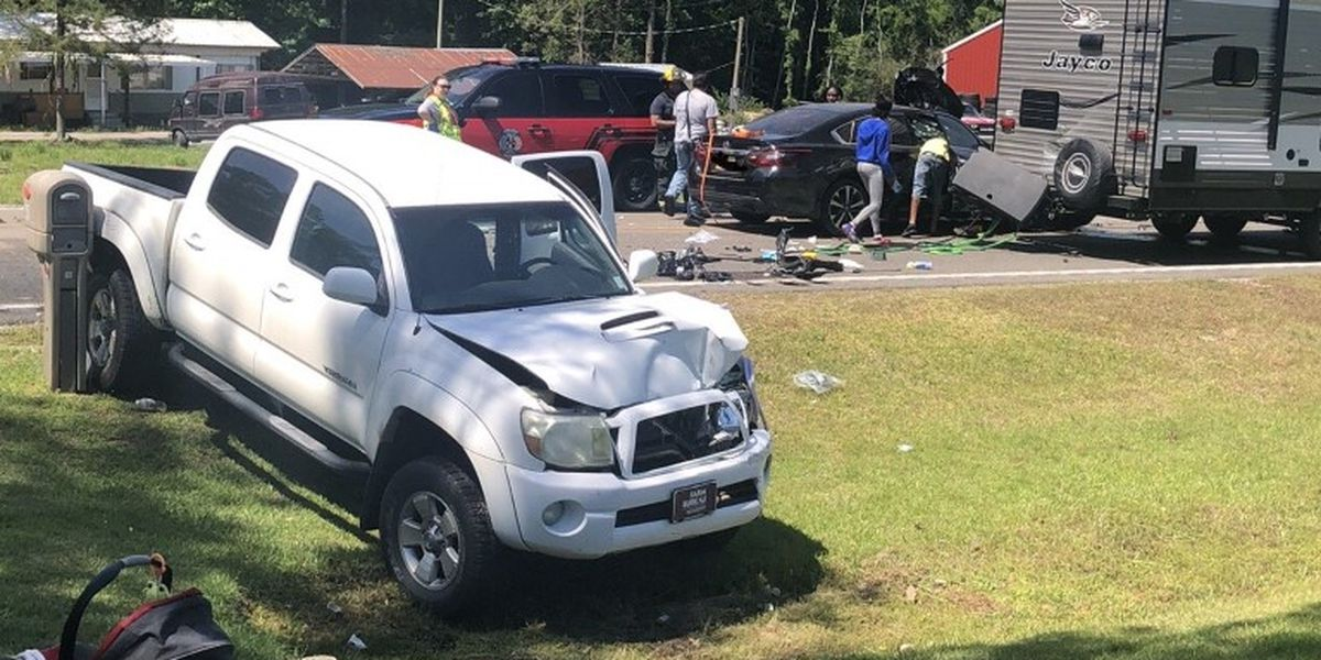 Firefighters respond to three-car collision away from station in Laurel