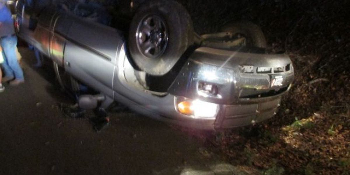 Minor injuries reported after one-vehicle rollover