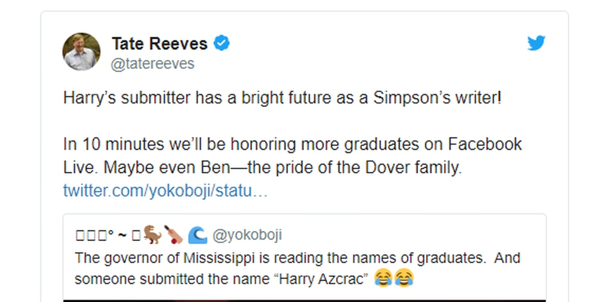 Gov. Reeves responds after reading name 'Harry Azcrac' during graduation shout-outs