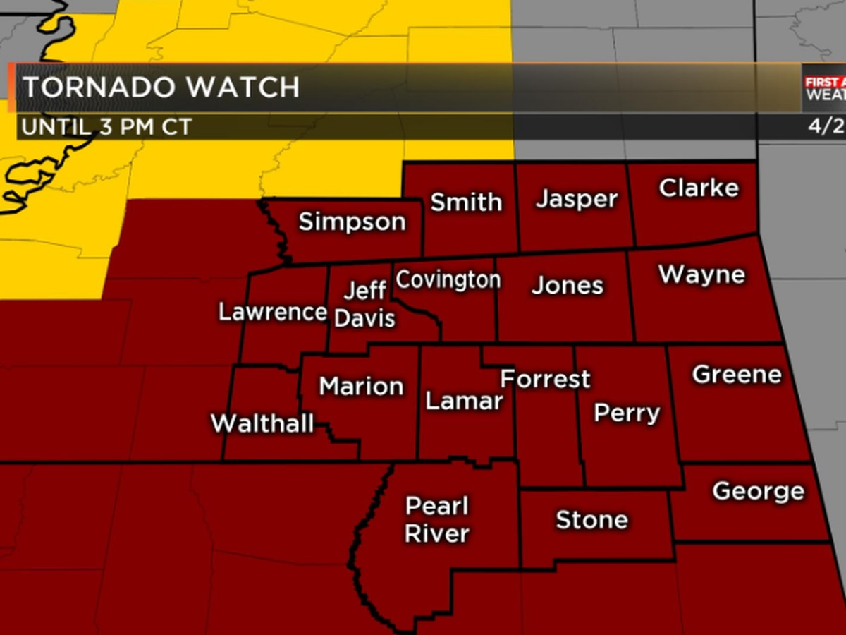 First Alert: Pine Belt under tornado watch until 3 p.m.