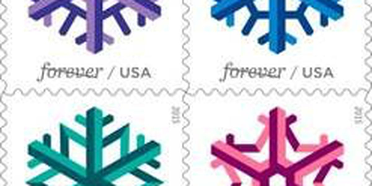 Geometric snowflakes add festive look to mailing holiday greetings and packages