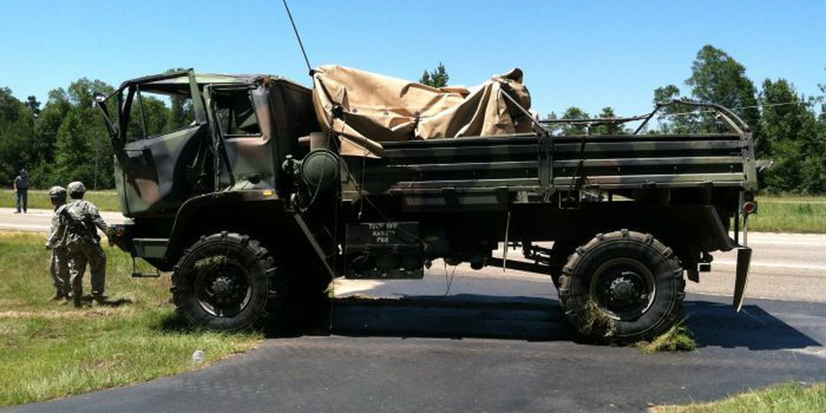 Military truck overturns on Hwy 98, 2 soldiers injured