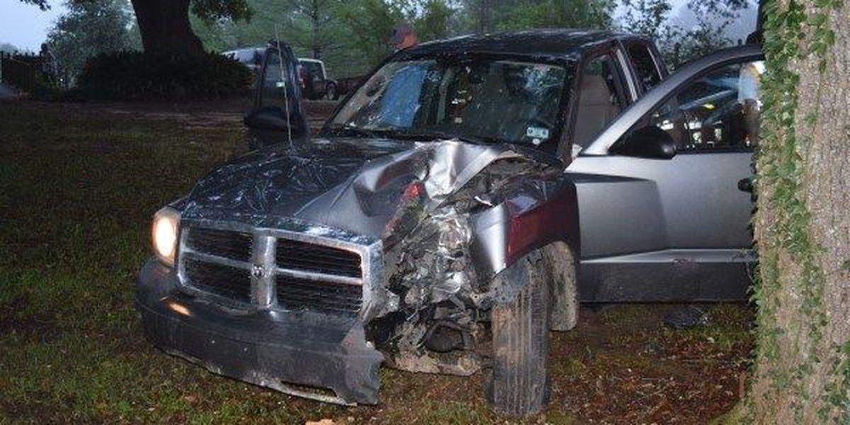 Vehicle strikes, breaks power pole in Jones County accident