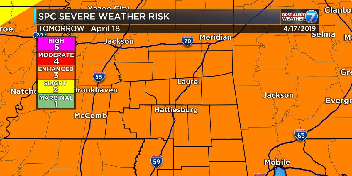 "First Alert: Pine Belt under ""Enhanced Risk"" for severe weather Thursday"