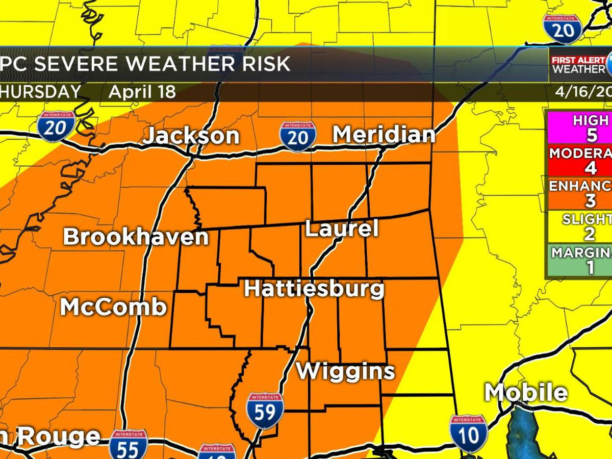 First Alert: Severe weather possible Thursday for the Pine Belt