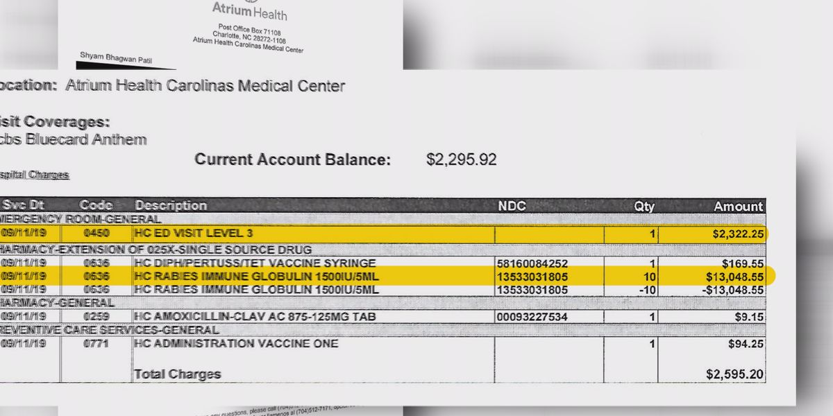N.C. man charged $2,300 for walking through ER doors for cat scratch