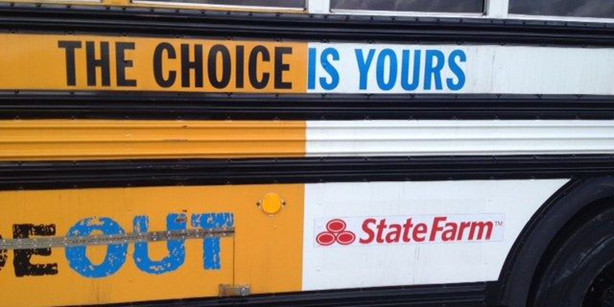 The Choice School Bus visits Laurel Middle School