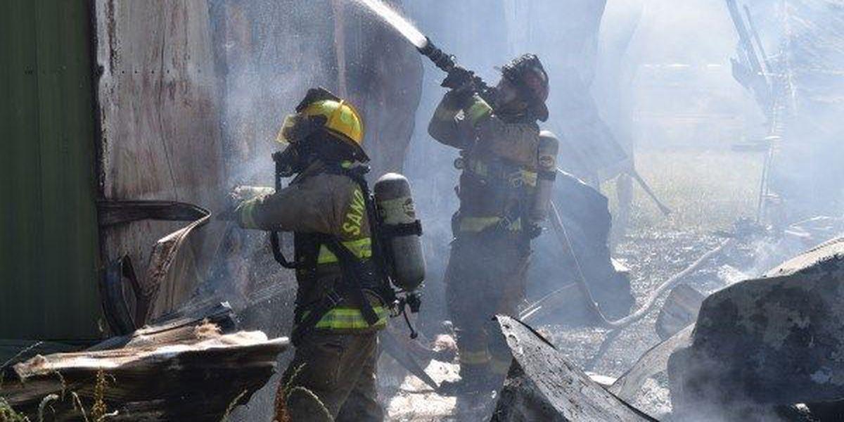 Multiple fire departments battle Jones County trailer fires