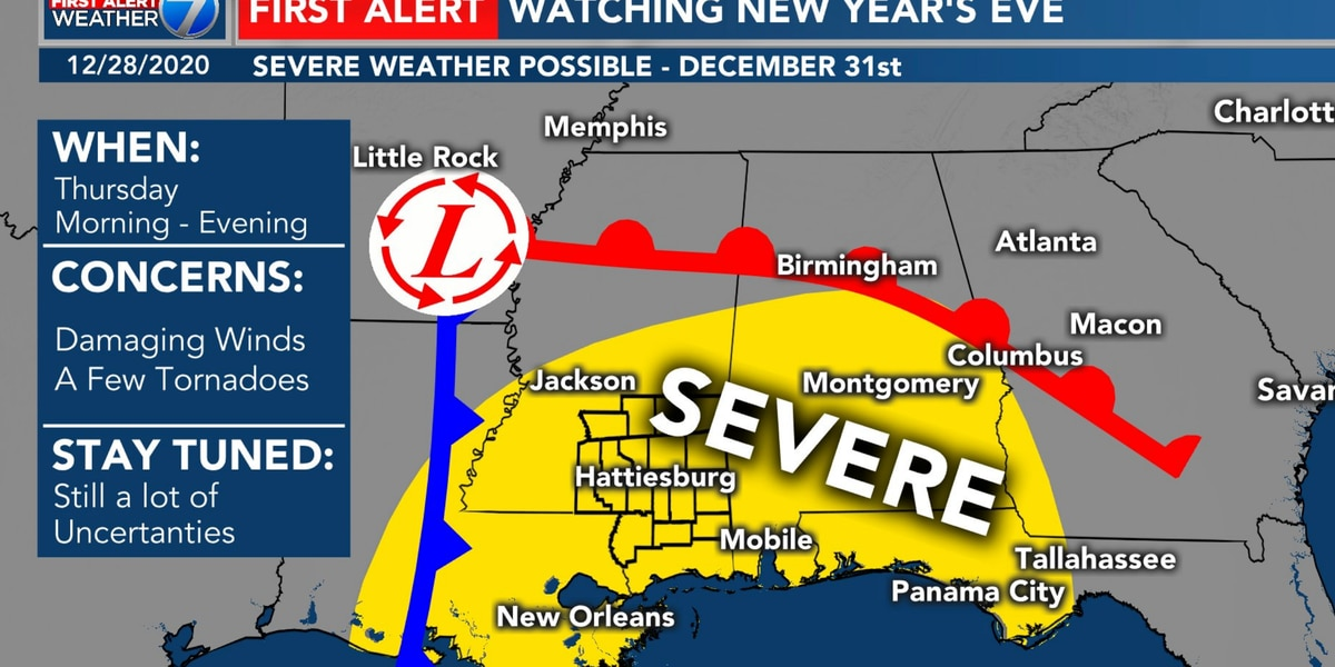 New Year's Eve severe weather possible for Pine Belt