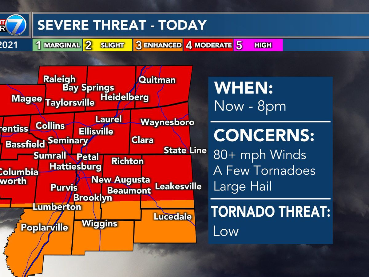 First Alert: Severe weather threat upgraded for the Pine Belt