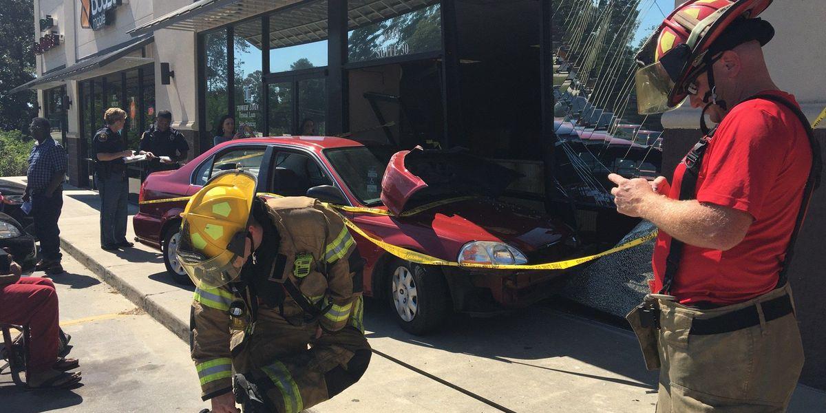 Car crashes into Hub City strip mall